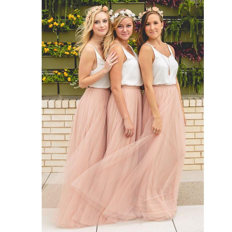 Elegant A-Line V-Neck Tulle Skirt Long Bridesmaid Dress 2