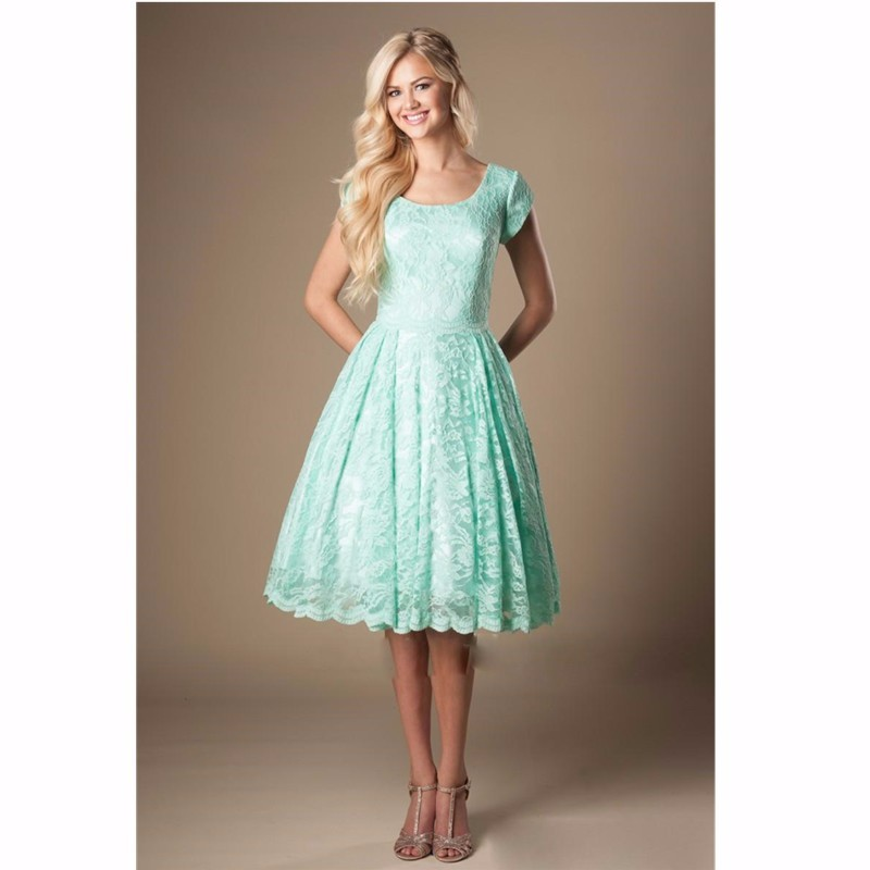 Mint Lace Short Sleeves A Line Knee Length Bridesmaid Dress 1