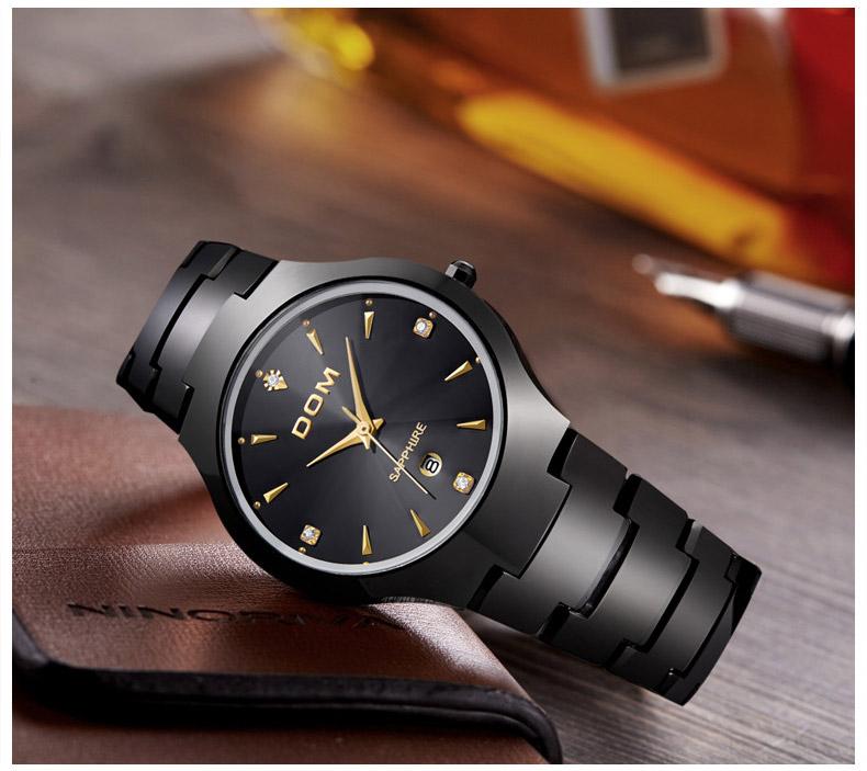 Hk dom luksusowe top marka męska zegarek wolframu stal wrist watch wodoodporna biznesu kwarcowy zegarek fashion casual sport watch 9