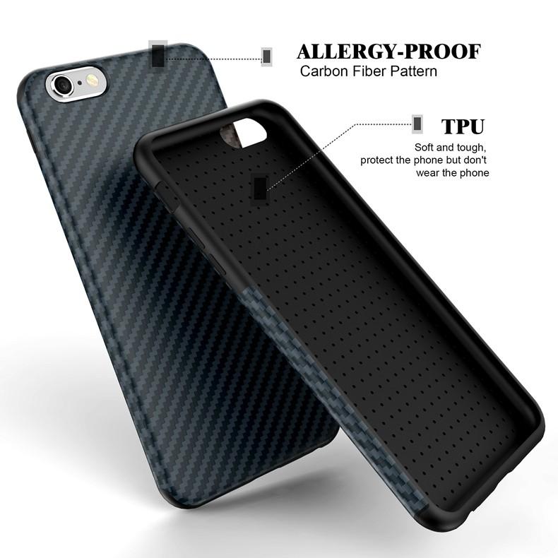 Najnowszy środowiska carbon fiber case dla iphone 6 6s plus miękkie antypoślizgowa anti-puk pokrywy dla iphone 7/plus skóra skóra torba 12