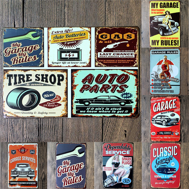 Vintage Metal Tin Signs Garage Vxotic