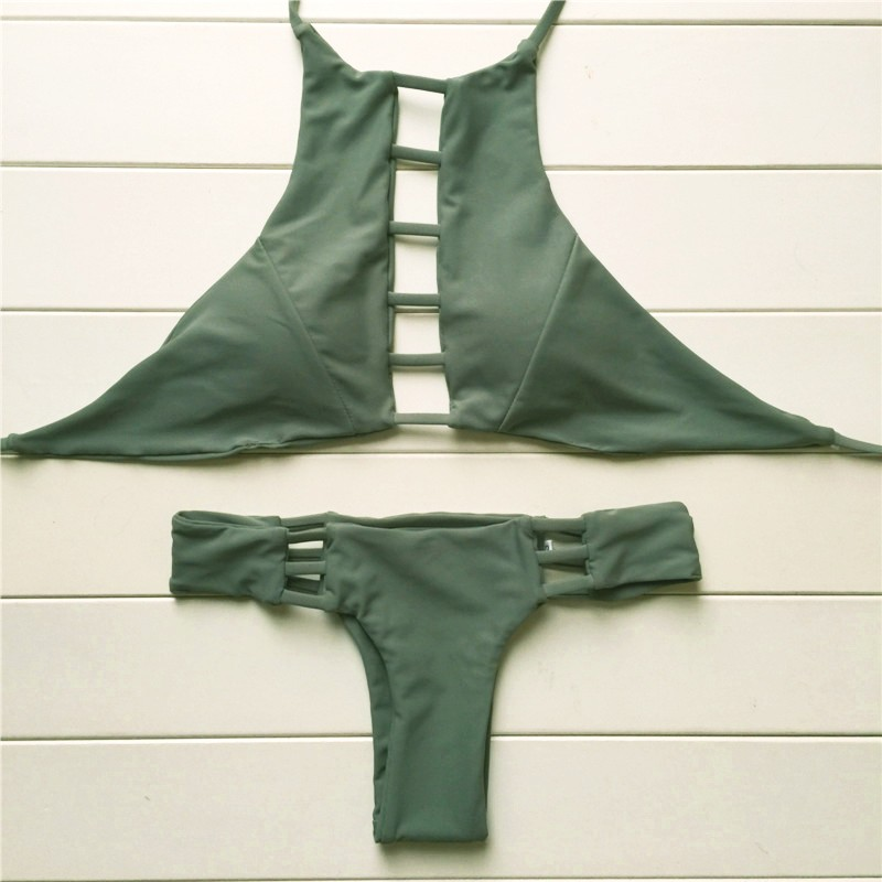 2016 Sexy Wysoka Neck Bikini Bandaż Stroje Kąpielowe Wycięty Strój Retro Halter Bikini Set Brazylijski Drukowane Plaży Latem Garnitur 20 10