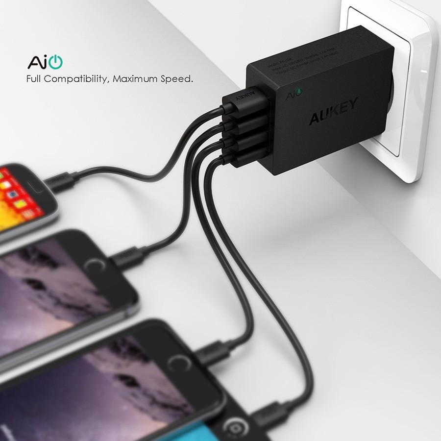 Aukey uniwersalny 4 porty usb ładowarka podróżna ładowarka ścienna adapter do iphone7 samsung s6 smart phones/pc/mp3 i usb urządzeń mobilnych 5
