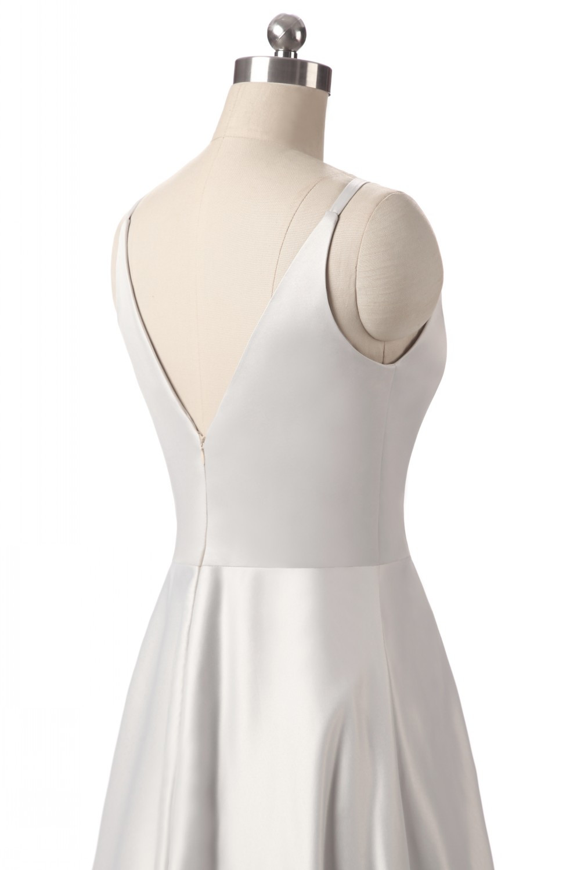 Elegant V-Neck Pleat Satin Long Evening Dress 9
