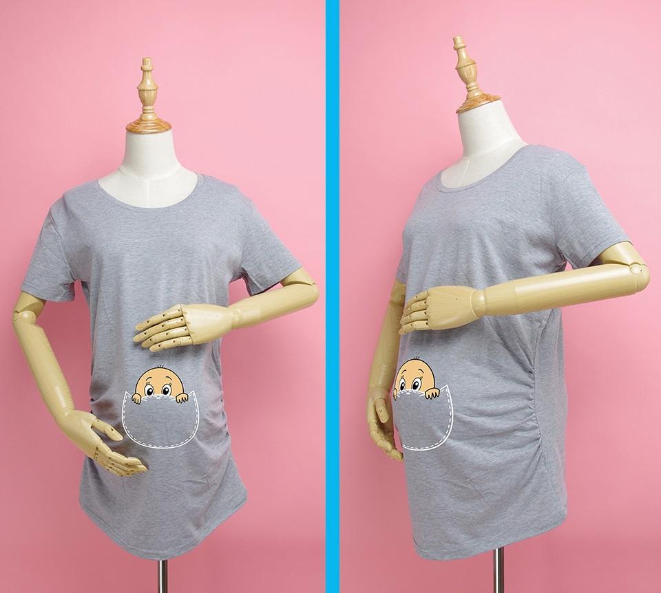 """""""Kieszonkowy dziecko siusiu boo"""" drukuj koszula ciążowa gravida top ciąży odzież tanie Tees Casual plus rozmiar XXL Darmowa wysyłka 5"""