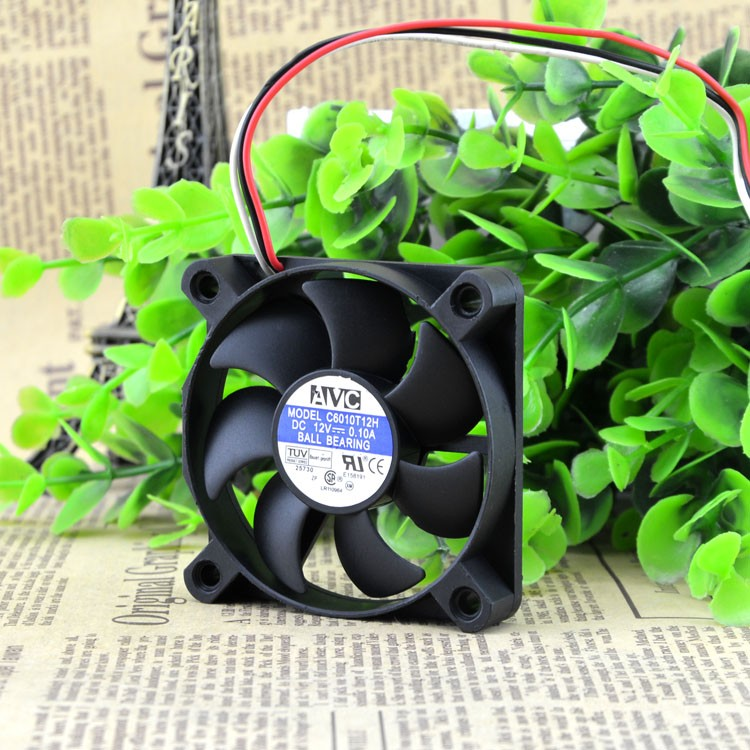Free Shipping For AVC C6010T12H DC 12V 0.1A, 3-wire 3-pin 60mm, 60x60x10mm Server Square cooling fan