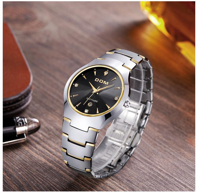 Hk dom luksusowe top marka męska zegarek wolframu stal wrist watch wodoodporna biznesu kwarcowy zegarek fashion casual sport watch 6