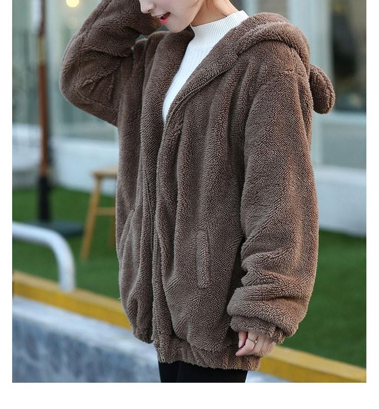 Hot Sprzedaż Kobiety Swetry Zipper Dziewczyna Zima Luźne Puszyste Niedźwiedź Ucha Bluza Z Kapturem Kurtka Warm Odzież Wierzchnia Płaszcz słodkie bluza H1301 6