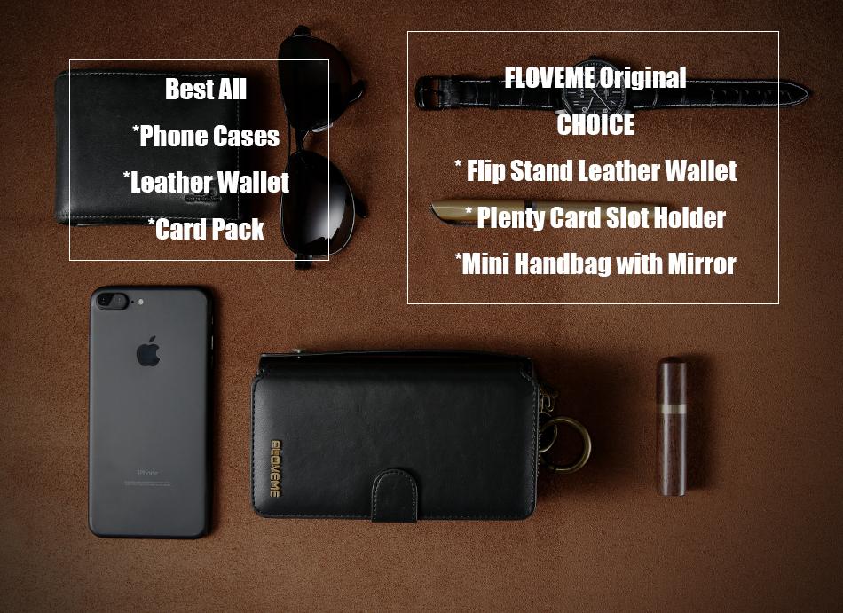 Floveme vintage leather wallet phone case for iphone 7 7 plus 6 6 s plus retro torebka slot kart pokrywa dla samsung s7 s8 coque 1