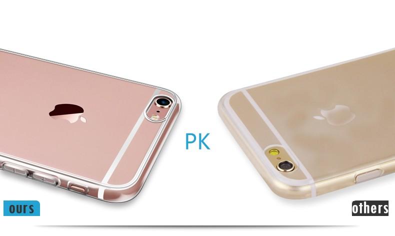 Esamday Ultra Thin Miękka TPU Gel Oryginalny Przezroczysty Case Dla iPhone 6 6 s 7 7 Plus 6 sPlus Crystal Clear Silicon Obejmują Przypadki Telefonów 10