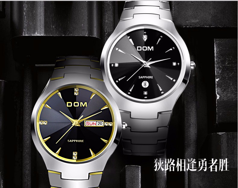 Hk dom luksusowe top marka męska zegarek wolframu stal wrist watch wodoodporna biznesu kwarcowy zegarek fashion casual sport watch 23