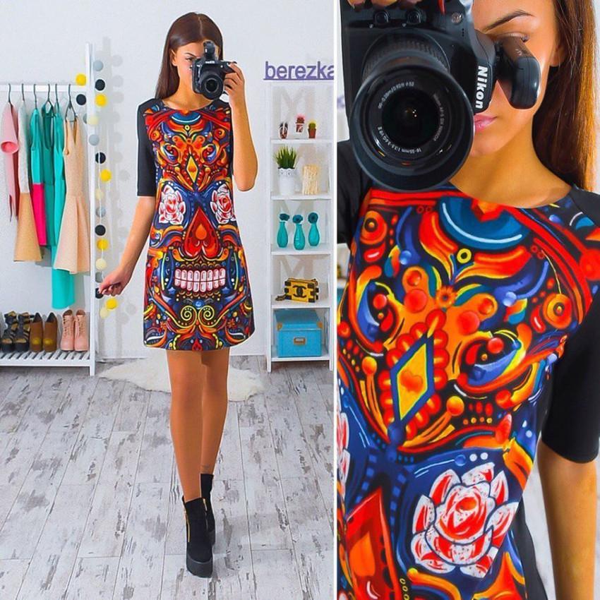 2017 kobiety dress vintage wydrukowano połowa rękawem slim sukienek vestidos panie mini luźne summer dress 4