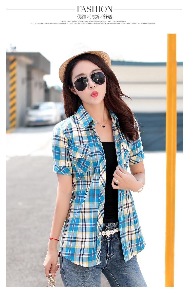 Brand New 2017 Lato Styl Plaid Drukuj Krótki Rękaw Koszule kobiety Plus Rozmiar Bluzki Na Co Dzień 100% Bawełna Topy Blusas 14 kolory 6