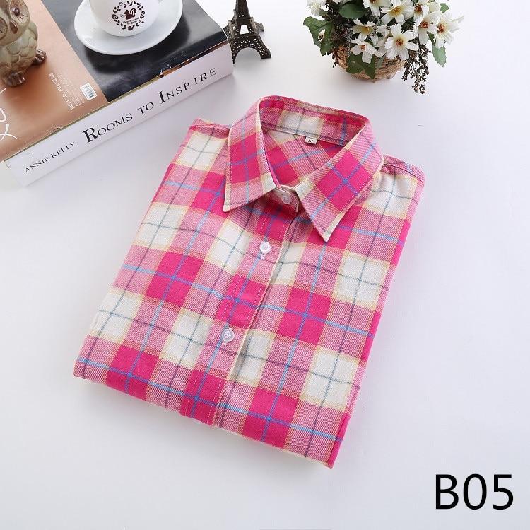 2016 Moda Plaid Shirt Kobiet College style damskie Bluzki Z Długim Rękawem Koszula Flanelowa Plus Rozmiar Bawełna Blusas Biuro topy 10