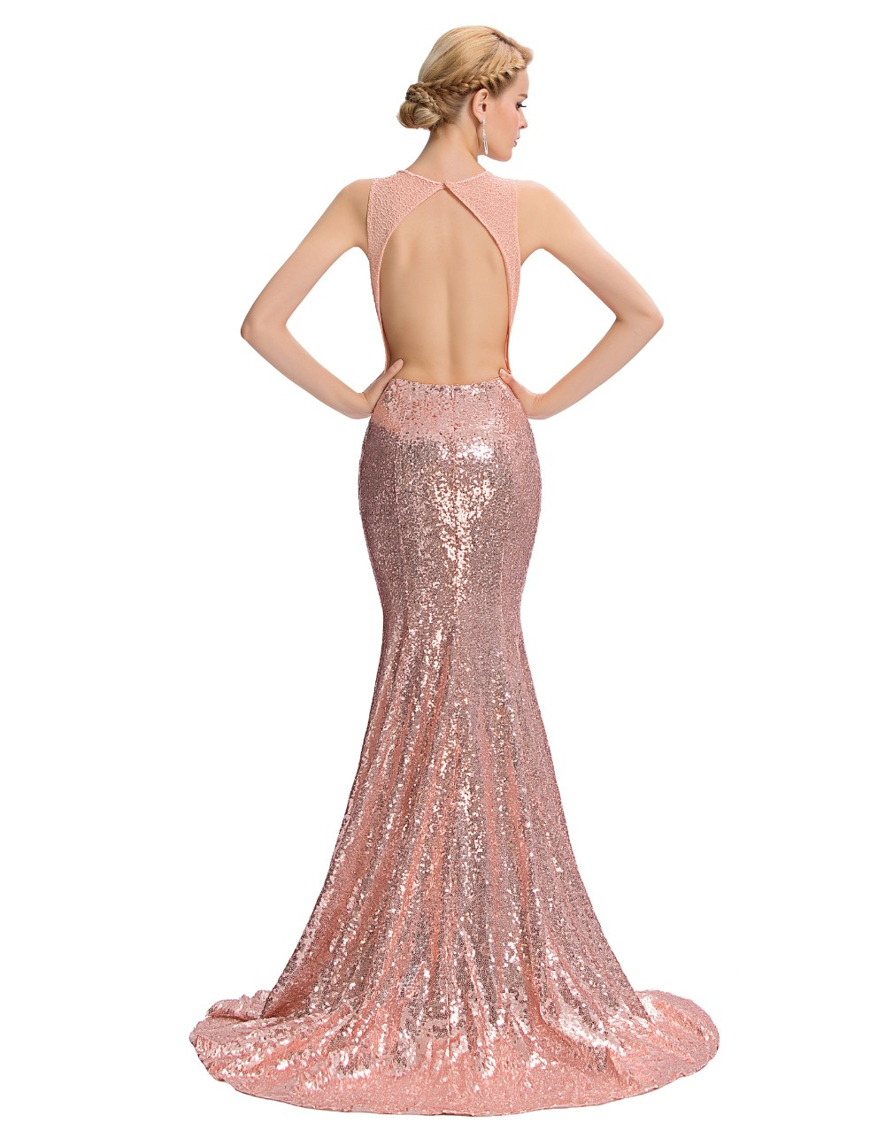 Elegant Pink Sequin Floor Length Backless Lace Mermaid Evening Dress 4