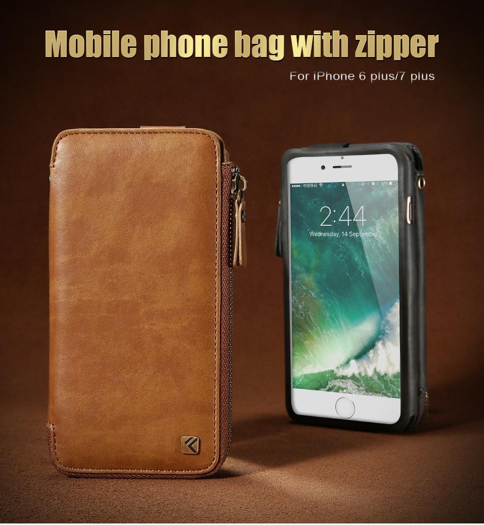 Floveme vintage wallet case dla iphone 6 6 s 7 plus skórzanej oprawie zipper torebka posiadacza karty retro przypadki telefonów dla iphone 6 6 s 7 1