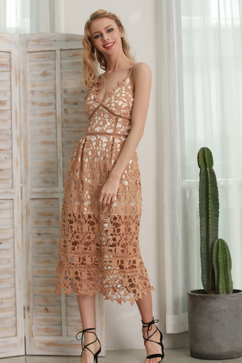 Hollow Out V-Neck Lace Summer Dress 4