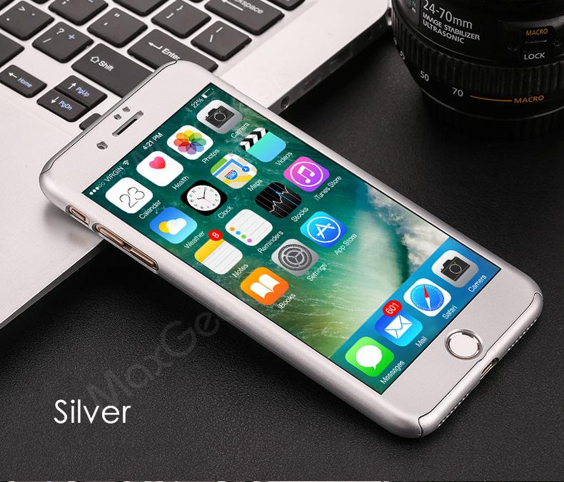 Luksusowe Piano Black 360 Stopni Ciężka PECET Skrzynki Dla Apple iPhone 5 5S SE 6 6 S 7 Plus Szczupła Całe Ciało Pokrywa Capa + Szklany Ekran Protector 21
