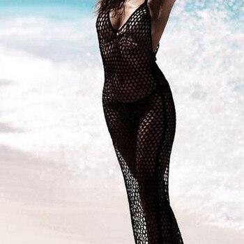 7d5b792f73 IASKY 2019 nouveau tricoté plage longue Robe sexy femmes poisson net bikini  maillot de bain