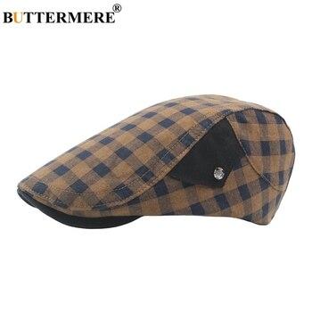 4a9b9a728d26c Red Plaid Beret Hats For Men Women Summer Cotton Flat Beret Caps ...