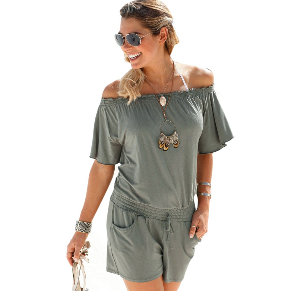 Elegancki kombinezony pajacyki Kobiet kombinezon 2017 dorywczo lato stałe Off shoulder sexy plus size Playsuit Bodycon Clubwear B2 7