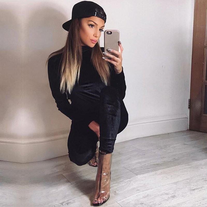 WJ Seksowne Kobiety Dres Ustawia 2017 Nowy Jesień Zima Moda Aksamitne długi Rękaw Bluzy Topy + Spodnie Wąskie Garnitury Femme 2 Sztuka Zestaw 16