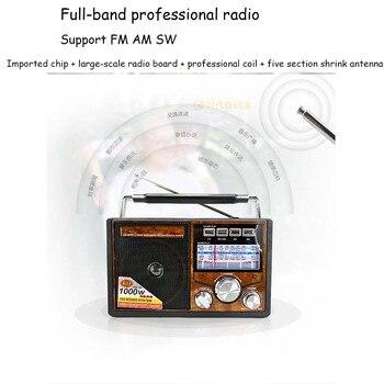 FM/AM/SW Retro World Radio Banda Receptor MP3 Player com Lanterna