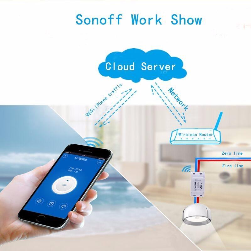 Sonoff Moduł Automatyki Inteligentnego Domu Wifi Przełącznik Uniwersalny Zegar Diy Przełącznika Bezprzewodowego Pilota zdalnego sterowania Poprzez IOS Android 10A/2200 W 1
