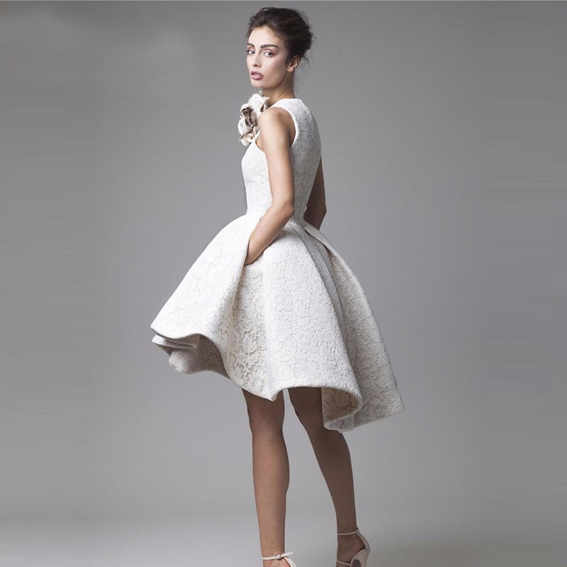 Little White Lace High Low High Neck Knee Length Puffy Prom Cocktail Dress 2
