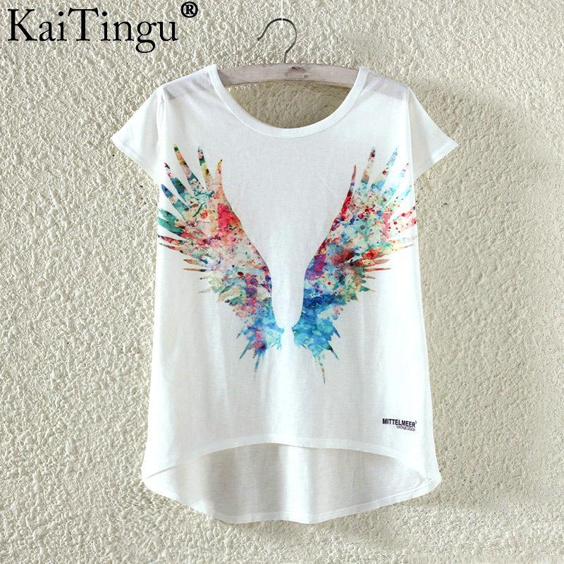 Kaitingu kawaii śliczne t koszula moda lato harajuku wysoki niski styl cat print t-shirt z krótkim rękawem t shirt kobiet topy plus size 20
