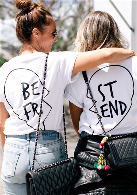 2016 Lato Best Friends T Shirt Drukuj List BYĆ PT ST KONIEC Kobiet T-shirt Mody Krótkim Rękawem Odzież Damska Biała czarny 2