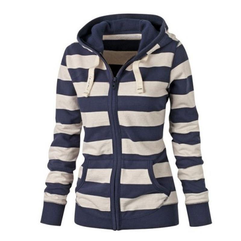 Moda damska Stripes Casual Zipper Bluzy Z Kapturem Kieszeni Kobiety Bluza Plus Rozmiar S-5XL LJ7847R 1