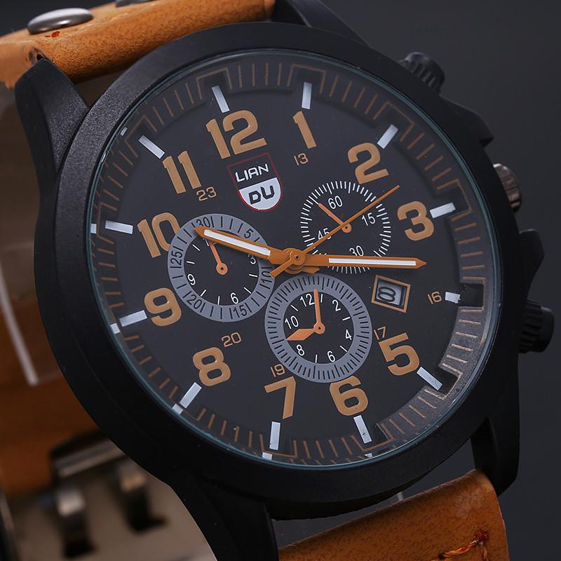 2016 New Business Quartz watch Men sport Zegarki Wojskowe Mężczyźni Corium Skórzanym Paskiem armii zegarek zegar godziny Kompletna Kalendarz 8