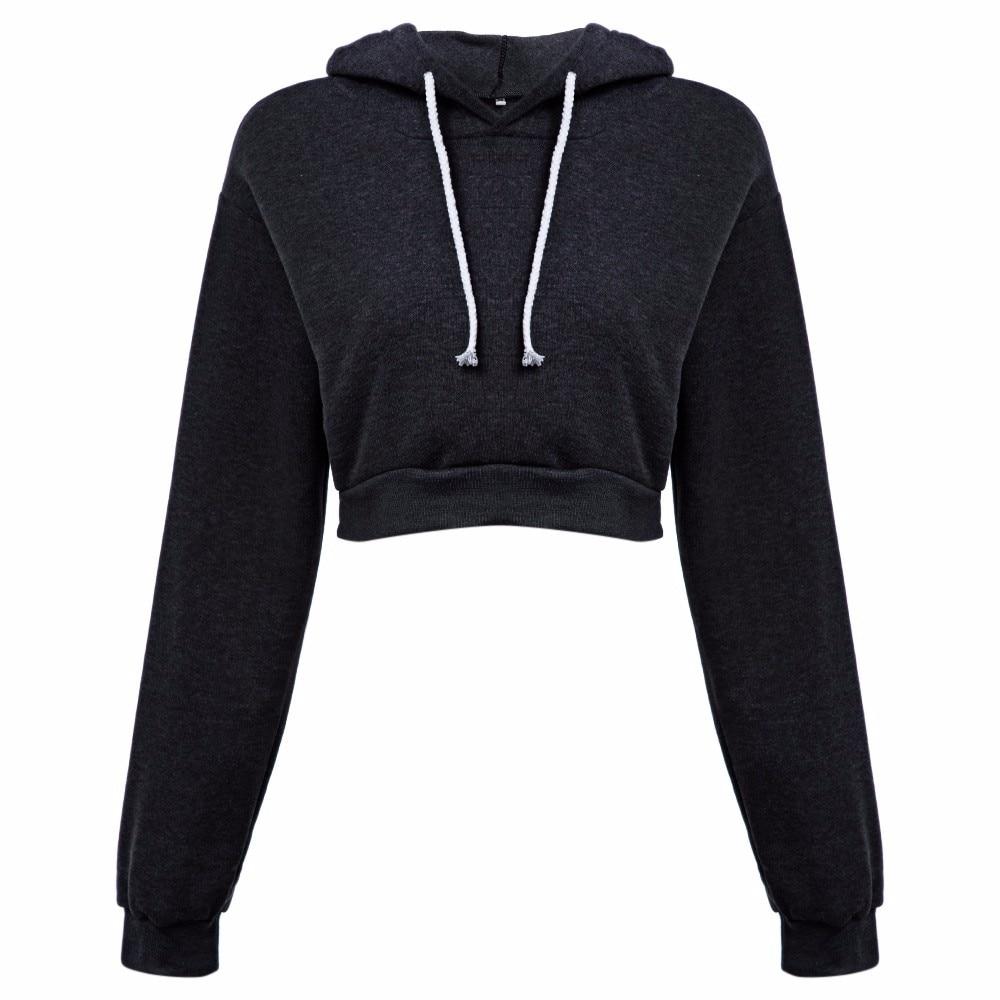 AZULINA Dorywczo Szary Czarny Bluzy Swetry Kobiet Bluza Zima Sexy Szary Krótki Crop Przycięte Dres Z Kapturem dla Kobiet 9
