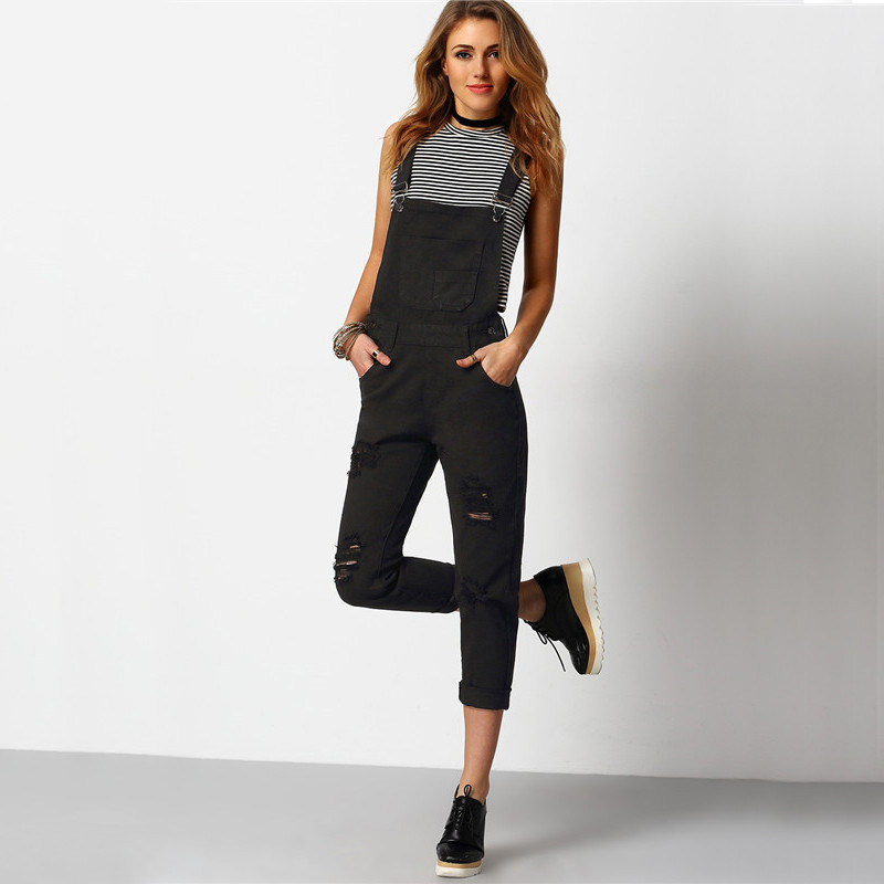 Shein kobiety kombinezon denim kombinezony 2016 wiosna jesień czarny pasek kieszenie pełna długość denim jeans ripped kombinezon 4