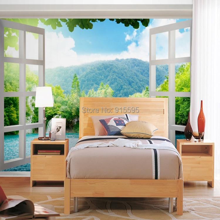 Niestandardowe 3d wodospady las zobacz okno 3d art mural mural tapety salon sypialnia przedpokój pokój dziecięcy fototapety 8