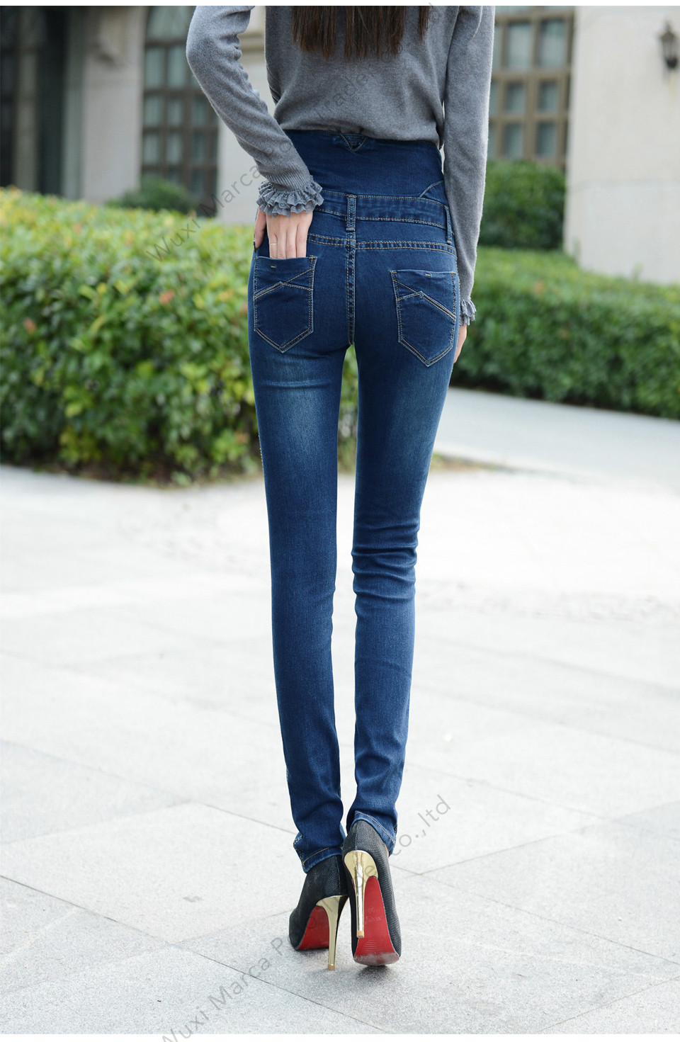 High Waist Elastic Skinny Denim Long Pencil Pants 4