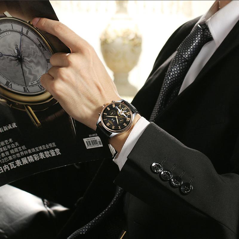 Kinyued Skeleton Watch Mężczyźni Automatyczna Wodoodporna Top Marka Męskie Zegarki Mechaniczne Skóry Kalendarza Złota Róża Relógio Masculino 13