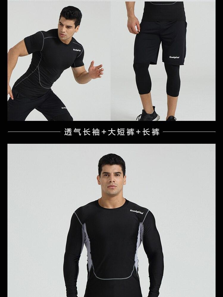 3 Sztuk Ubrania Męskie Kombinezony Sportowe Do Biegania Dla Mężczyzn Krótki kompresja Rajstopy Gym Fitness T Shirt Przycięte Spodnie Szybkie Pranie zestawy 15