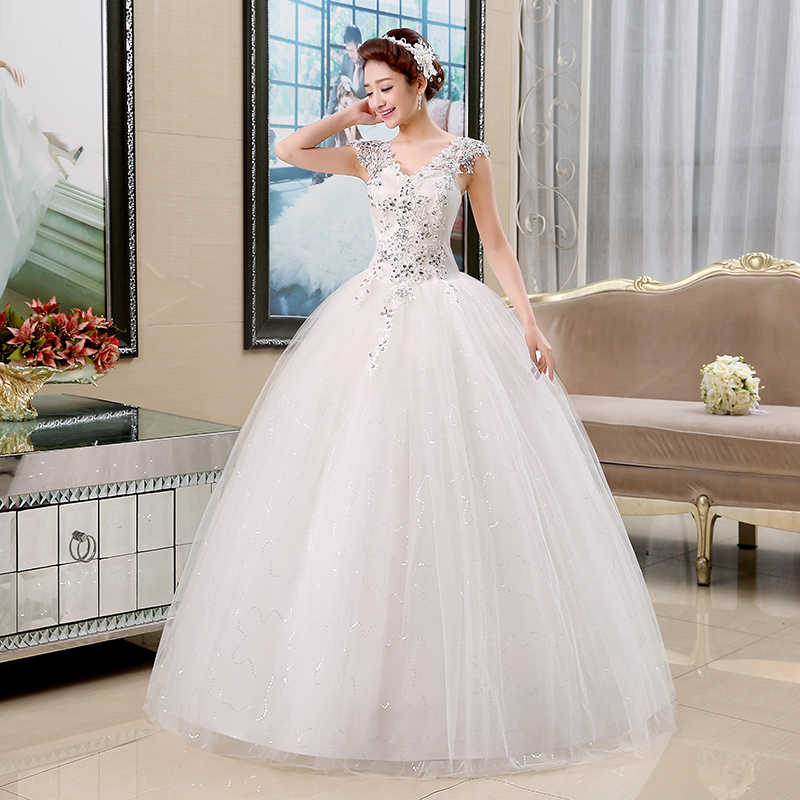 9cd145ff587 Plus Size Lace V-Neck Cheap Wedding Dress 2018 Summer Style Fashionable  Sequined Bridal Gowns