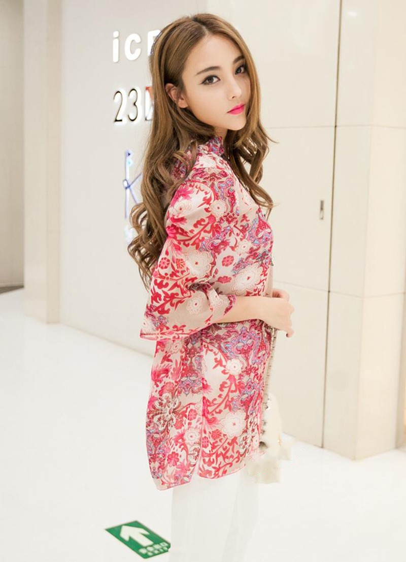2017 new fashion kobiety bluzka koszula lato w stylu kobiety vestidos szyfonowa Mini Suknia Plus rozmiar 4XL floral Casual Topy Blusas Mujer 13
