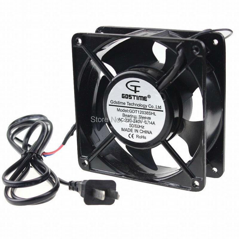20 PCS Gdstime AC 220V 240V Two Flat Pins Plug Axial Cooling Fan 120mm 12cm 120x38mm