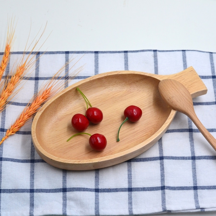 Creative Fish Shape Rubber Wooden Dinner Plates Eco