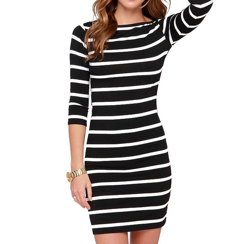 2016 Nowa Wiosna Lato Kobiety Wokół Szyi Mody Czarno-białe Paski Z Długim Rękawem Prosto Plus Rozmiar Casual Dress 7