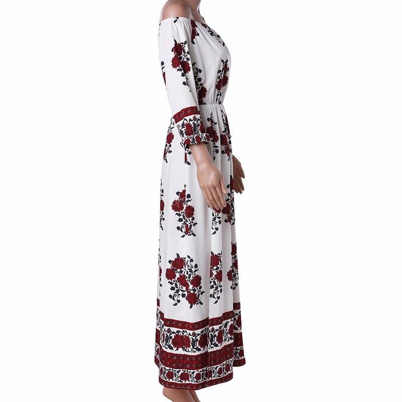 Print Slash Neck Off Shoulder Bohemian Split Beach Maxi Dress 4