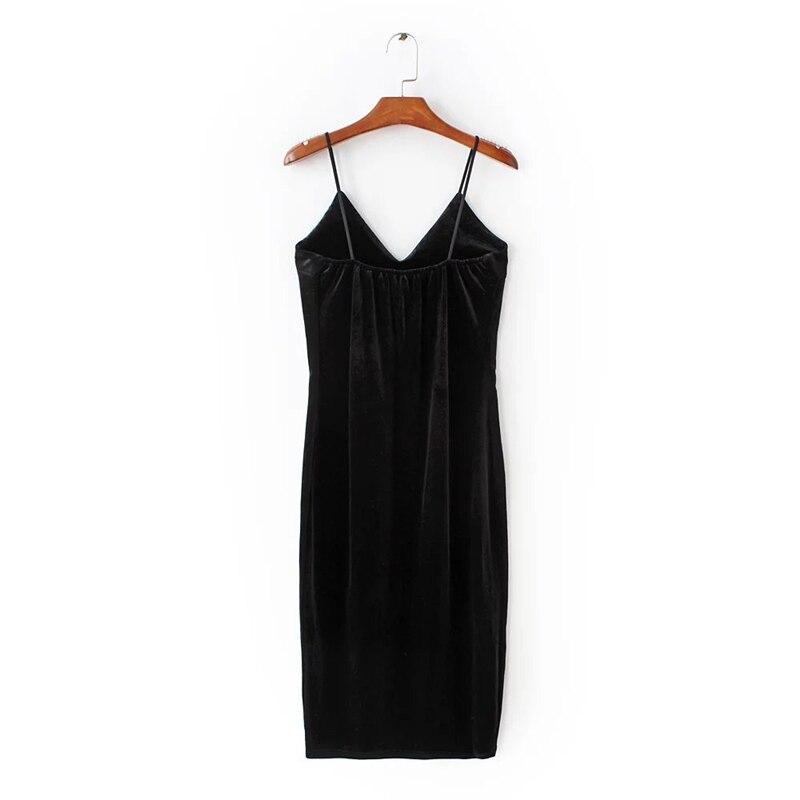 Red Flower Embroidered Black Velvet Shoulder-Straps Bodycon Dress 13