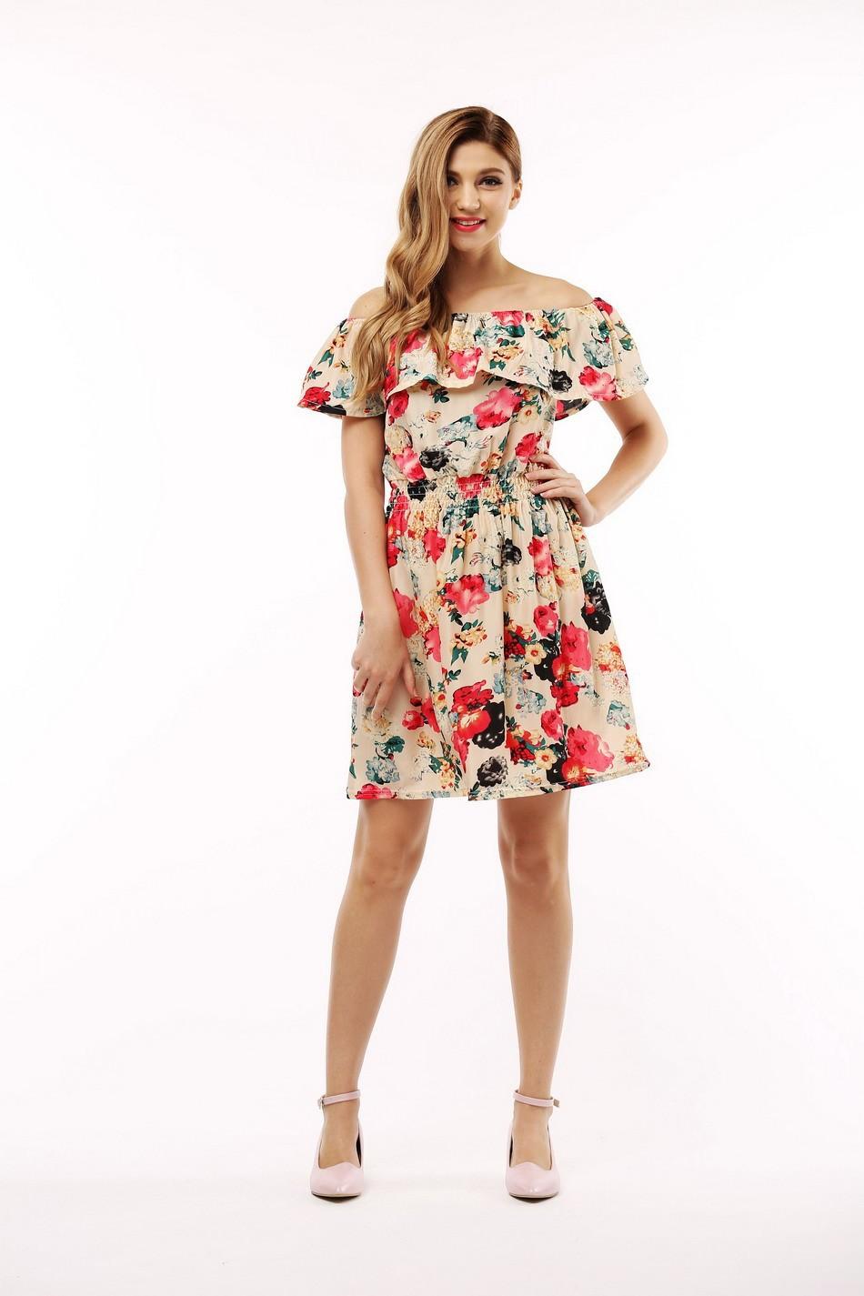 2017 fashion nowa wiosna lato plus size odzież kobiet floral print wzór sukienki na co dzień vestidos wc0472 18