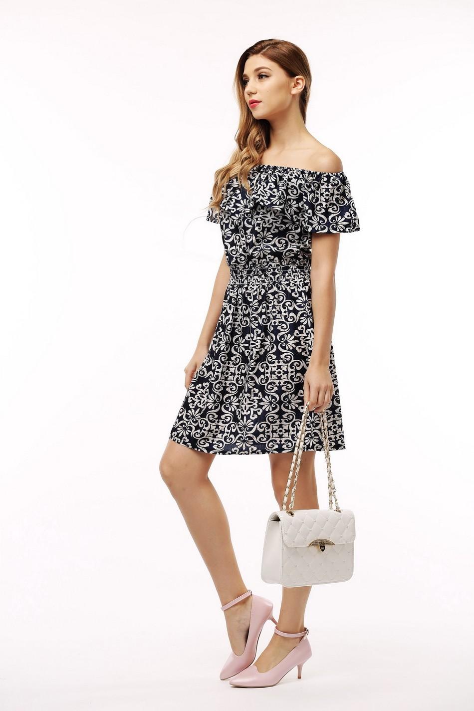 2017 fashion nowa wiosna lato plus size odzież kobiet floral print wzór sukienki na co dzień vestidos wc0472 12