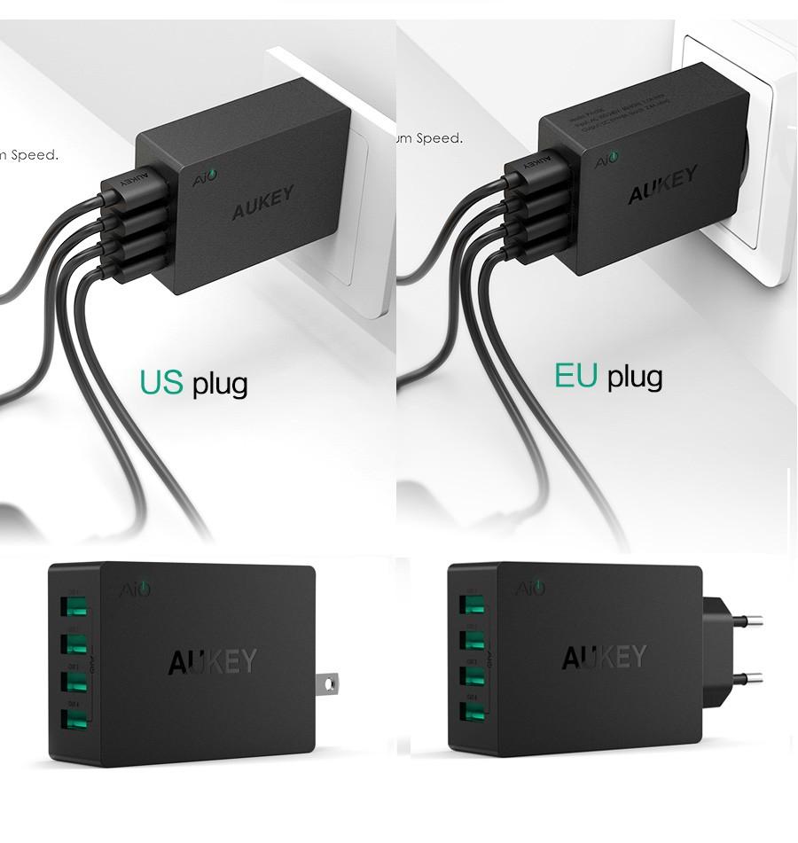 Aukey uniwersalny 4 porty usb ładowarka podróżna ładowarka ścienna adapter do iphone7 samsung s6 smart phones/pc/mp3 i usb urządzeń mobilnych 15