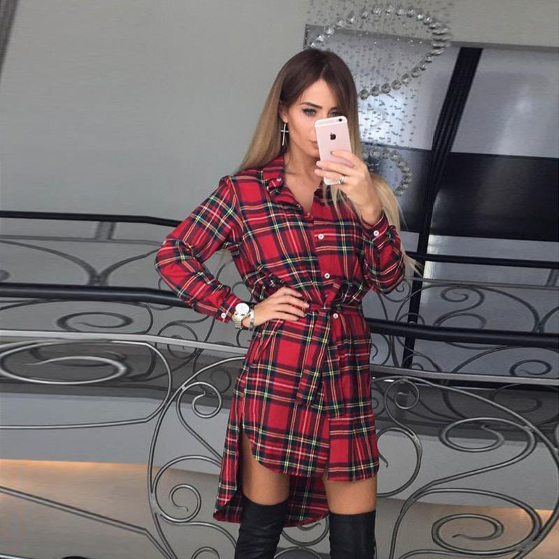 2017 dress kobiety nieregularne plaid shirt sukienki sexy długim rękawem turn down collar urząd casual dress lj5932c 4